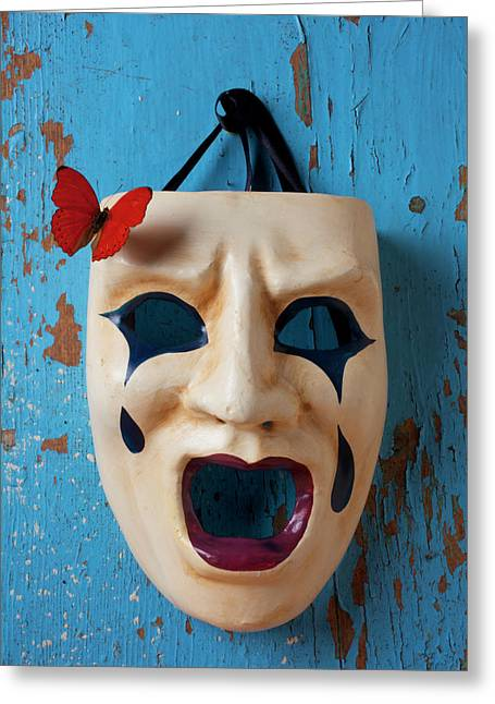 Mask Greeting Cards - Crying mask and red butterfly Greeting Card by Garry Gay