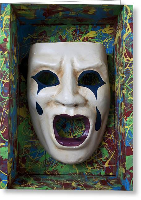 Cry Greeting Cards - Crying mask in box Greeting Card by Garry Gay