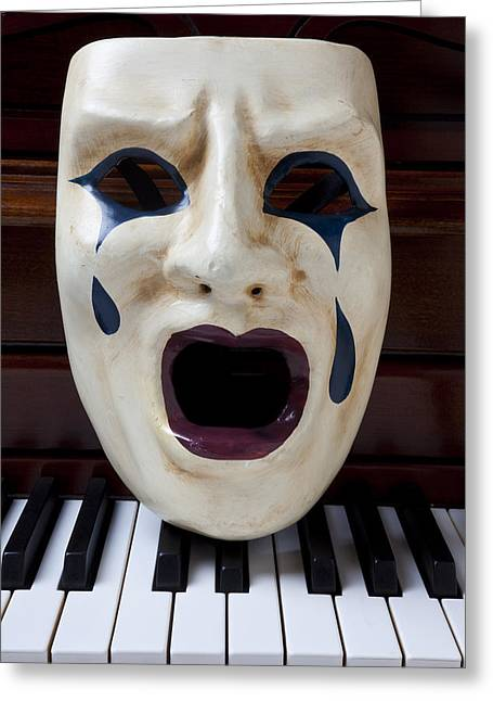 Theater Greeting Cards - Crying mask on piano keys Greeting Card by Garry Gay