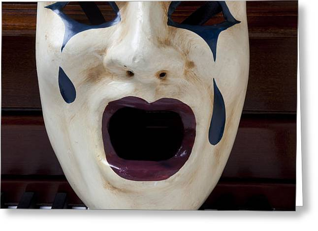 Crying mask on piano keys Greeting Card by Garry Gay