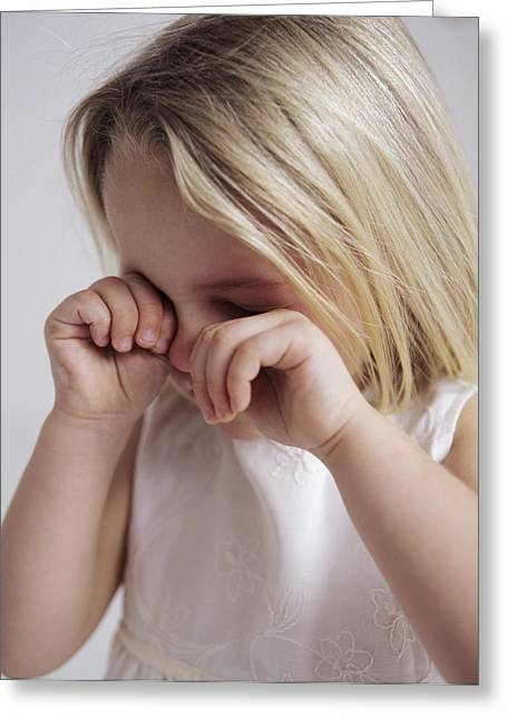3 Year Old Girl Greeting Cards - Crying Young Girl Greeting Card by Ian Boddy