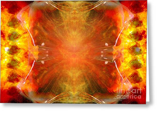 Solar Plexus Chakra Greeting Cards - Crystal and Celestial Healing - Fire Agate Greeting Card by Leanne M Williams