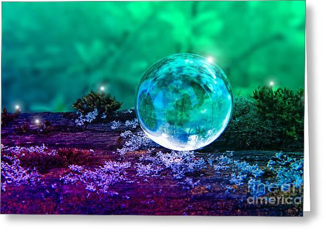 Crystal Ball - Magical Greeting Card by VIAINA Visual Artist