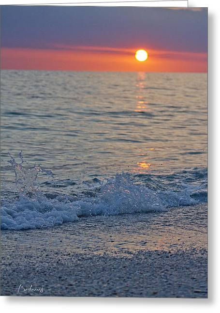 Best Sellers -  - Sun Breaking Through Clouds Greeting Cards - Crystal Blue Waters at Sunset in Treasure Island Florida 2 Greeting Card by Robin Lewis