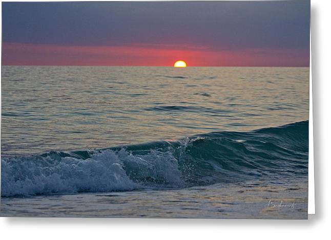 Best Sellers -  - Sun Breaking Through Clouds Greeting Cards - Crystal Blue Waters at Sunset in Treasure Island Florida 5 Greeting Card by Robin Lewis