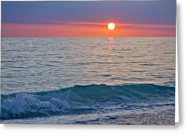 Best Sellers -  - Sun Breaking Through Clouds Greeting Cards - Crystal Blue Waters at Sunset in Treasure Island Florida Greeting Card by Robin Lewis