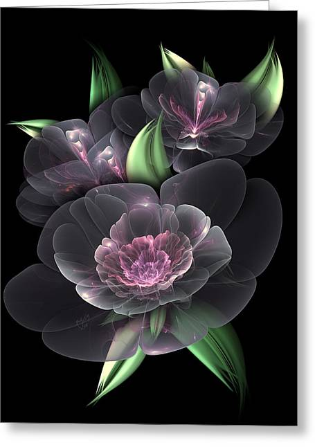 Karlajkitty Digital Art Greeting Cards - Crystal Bouquet Greeting Card by Karla White