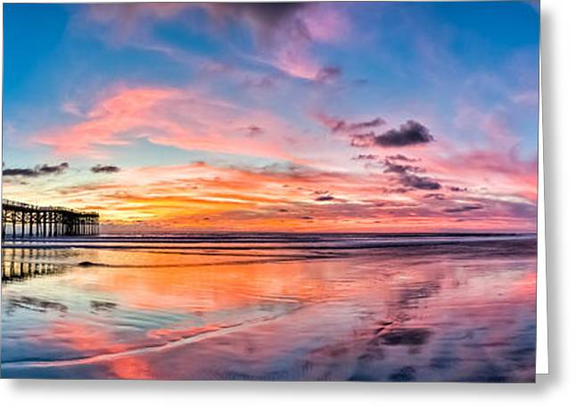 Tidal Photographs Greeting Cards - Crystal Pier Sunset Panoramic Greeting Card by Josh Whalen