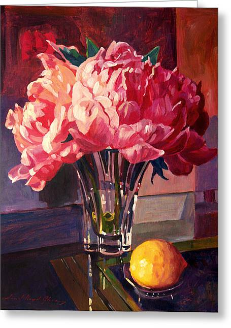 Floral Still Life Greeting Cards - Crystal Pink Peonies Greeting Card by David Lloyd Glover