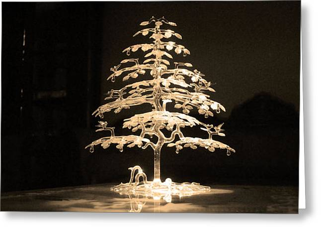 Chic Greeting Cards - Crystal Tree Greeting Card by Sumit Mehndiratta