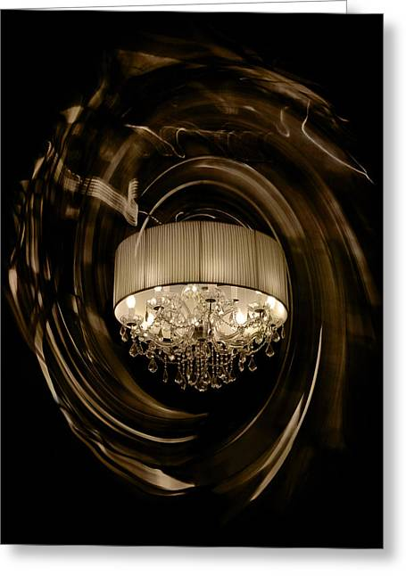 Sepia Chandeliers Greeting Cards - Crystal Vision - Sepia Swirls Greeting Card by Rick  Cheng
