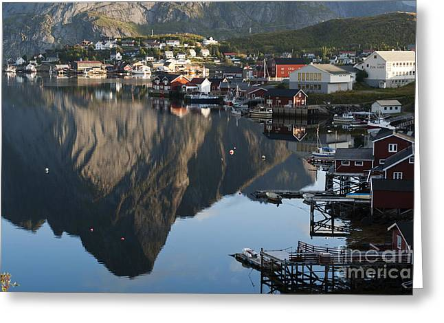 Norway Village Greeting Cards - Crystal Waters at Reine Village Greeting Card by Heiko Koehrer-Wagner