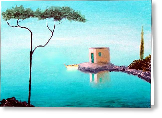 Crystal Waters On The Mediterranean Greeting Card by Larry Cirigliano