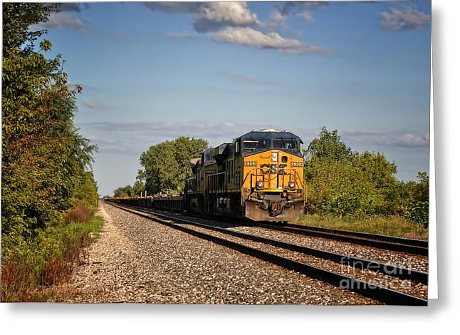 Rail Line Greeting Cards - CSX Train Engine 1 Greeting Card by Pamela Baker