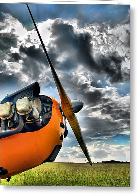 Single-engine Photographs Greeting Cards - Cub Prop Greeting Card by Steven Richardson