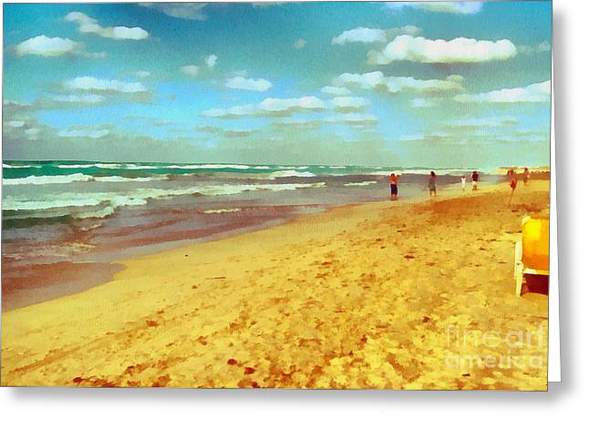 Recently Sold -  - Gold Lame Greeting Cards - Cuba beach Greeting Card by Odon Czintos