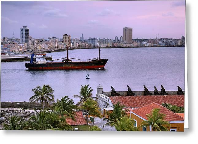 Editorial Greeting Cards - Cuba. Cargo ship leaving Havana Bay. Greeting Card by Juan Carlos Ferro Duque