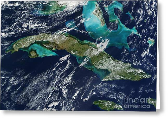 Spectrometer Greeting Cards - Cuba Greeting Card by NASA / Science Source