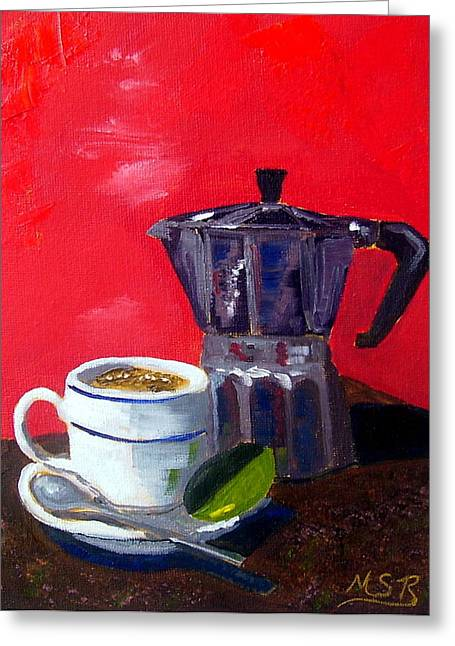 Espresso Prints Greeting Cards - Cuban Coffee and Lime Red Greeting Card by Maria Soto Robbins