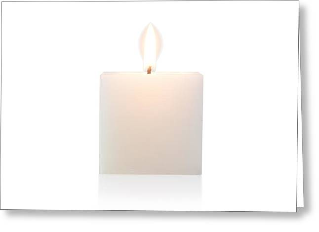 Votive Candles Greeting Cards - Cubic Burning Candle  Greeting Card by Atiketta Sangasaeng