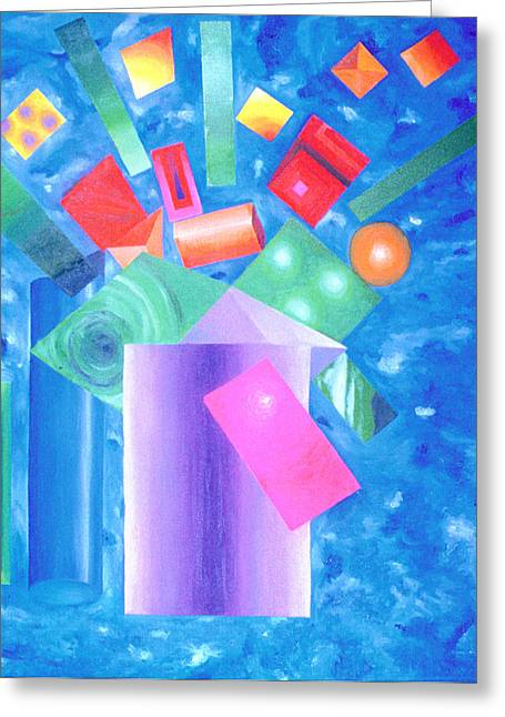 Robert May Greeting Cards - Cubist Flowers Greeting Card by Robert May