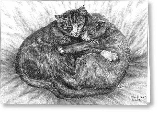 Cat Drawings Greeting Cards - Cuddly Cats - Black and White Art Print Greeting Card by Kelli Swan