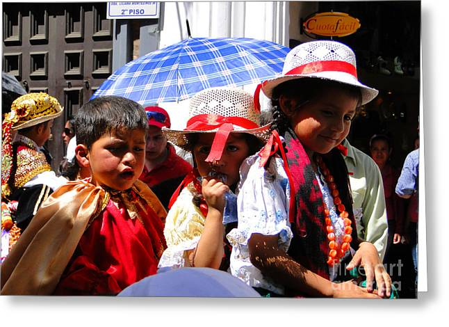 Innocence Greeting Cards - Cuenca Kids 187 Greeting Card by Al Bourassa