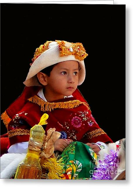 Christmas Eve Greeting Cards - Cuenca Kids 196 Greeting Card by Al Bourassa