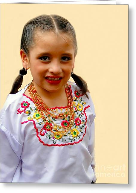Special Necklace Greeting Cards - Cuenca Kids 203 Greeting Card by Al Bourassa