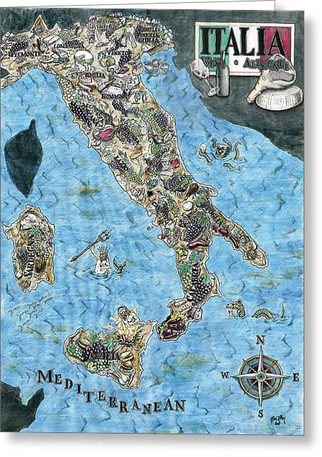 Chianti Drawings Greeting Cards - Culinary Map of Italy Greeting Card by Big Tasty