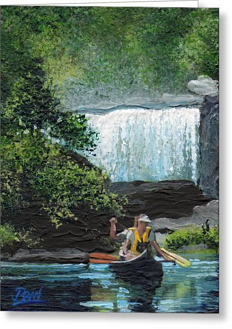Canoe Waterfall Paintings Greeting Cards - Cumberland Falls Greeting Card by Bill Brown