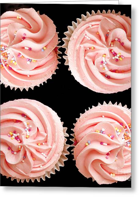 Junk Greeting Cards - Cup cakes Greeting Card by Jane Rix