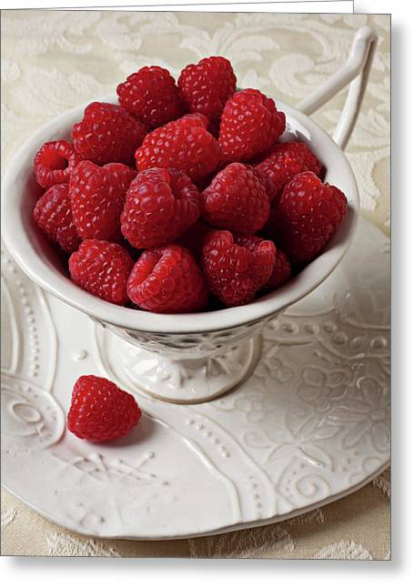 Fruits Photographs Greeting Cards - Cup full of raspberries  Greeting Card by Garry Gay