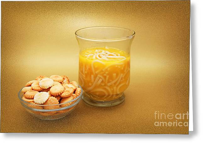 Noodles Mixed Media Greeting Cards - Cup O Soup And Oyster Crackers Greeting Card by Andee Design