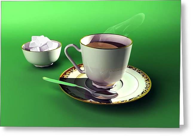 Sugar Cube Greeting Cards - Cup Of Tea And Bowl Of Sugar, Artwork Greeting Card by Christian Darkin