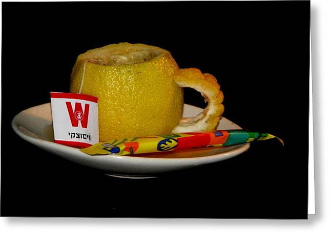 Sour Mixed Media Greeting Cards - Cup of tea Greeting Card by Gal Moran