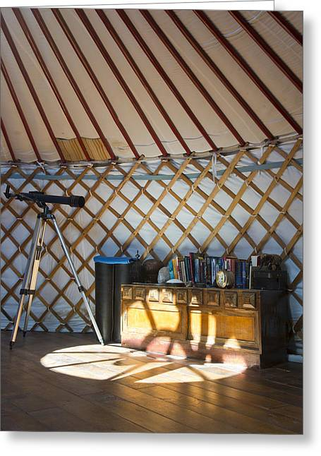 Yurts Greeting Cards - Cupboard Telescope And Books Greeting Card by Corepics