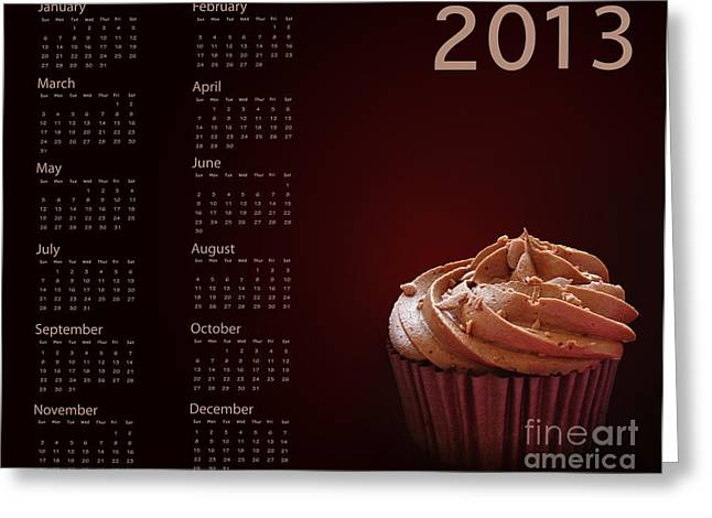 Annuals Greeting Cards - Cupcake calendar 2013 Greeting Card by Jane Rix