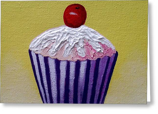 Menu Paintings Greeting Cards - Cupcake On Yellow Greeting Card by John  Nolan