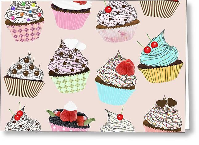 Various Digital Greeting Cards - Cupcake  Greeting Card by Setsiri Silapasuwanchai