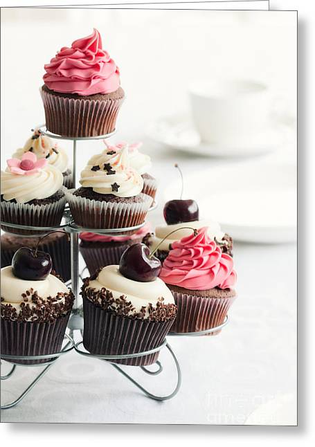 Cake Stand Greeting Cards - Cupcake stand Greeting Card by Ruth Black