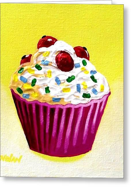 Menu Paintings Greeting Cards - Cupcake With Cherries Greeting Card by John  Nolan