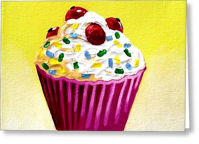 Menu Paintings Greeting Cards - Cupcake With Cherries Greeting Card by John  Nolan