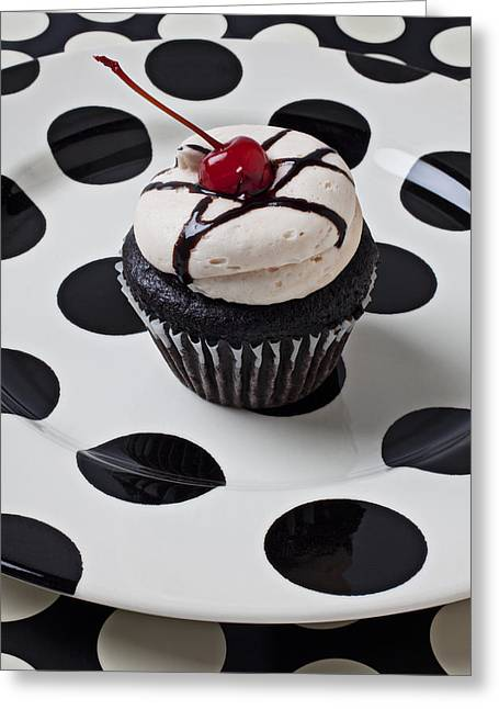 Cupcake With Cherry Greeting Card by Garry Gay