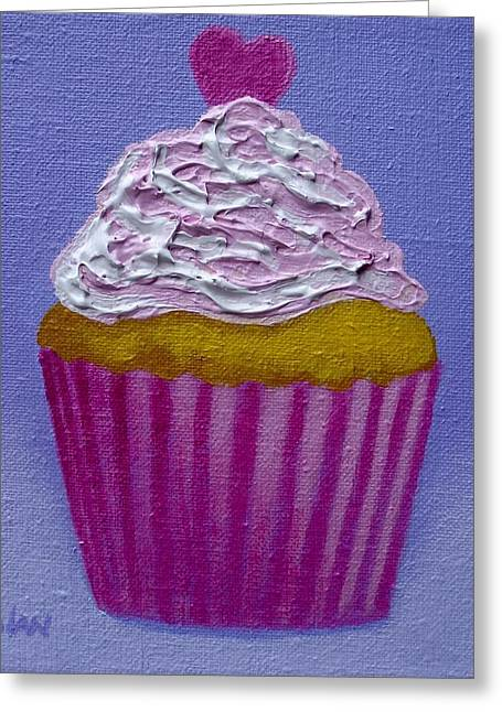 Cupcake With Heart Greeting Card by John  Nolan