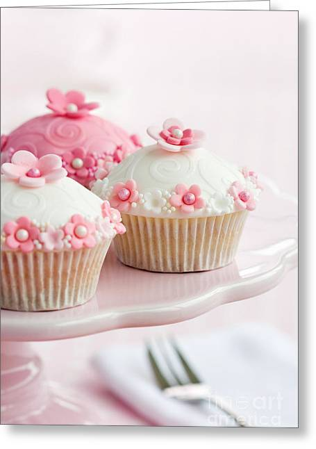 Tea Party Greeting Cards - Cupcakes on a cakestand Greeting Card by Ruth Black