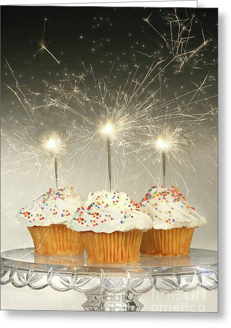 Delicious Photographs Greeting Cards - Cupcakes with sparklers Greeting Card by Sandra Cunningham