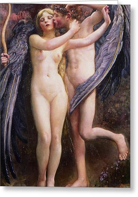Sex Greeting Cards - Cupid and Psyche Greeting Card by Annie Louisa Swynnerton