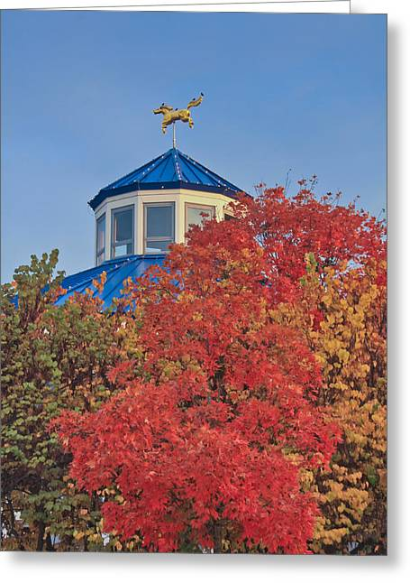 Coolidge Park Greeting Cards - Cupola Coolidge Park Carousel Greeting Card by Tom and Pat Cory