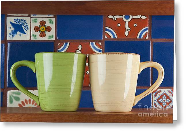 Two Coffee Cups Greeting Cards - Cups in Front of Colorful Tile Greeting Card by Thom Gourley/Flatbread Images, LLC